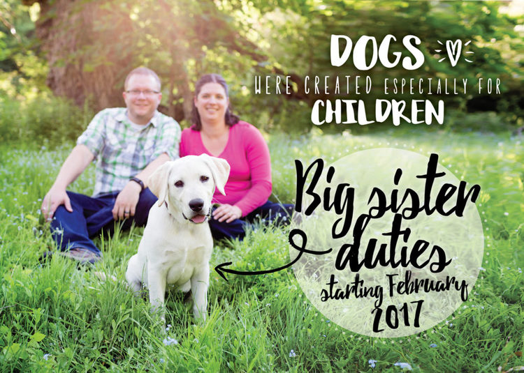 Custom maternity annoucement card with family pet.